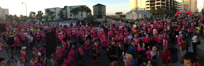 A sparkling sea of pink waits for the beginning of the Diva's Half Marathon and 5k