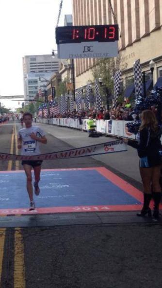 Craig Leon as he wins the half marathon