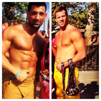 Shirtless firemen hand out the race medals to all runners